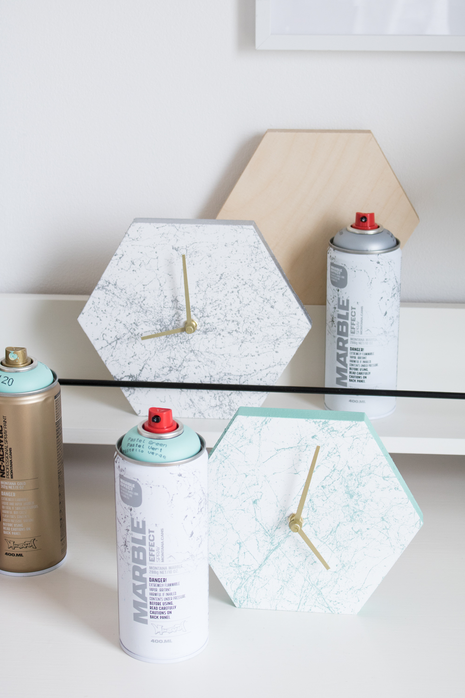 Hexagonal Marble Clock